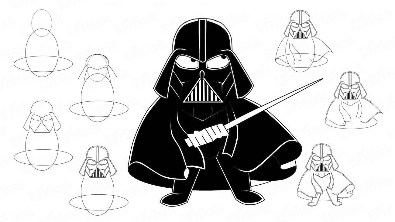 "How to draw Darth Vader from ""Star Wars"" in stages"
