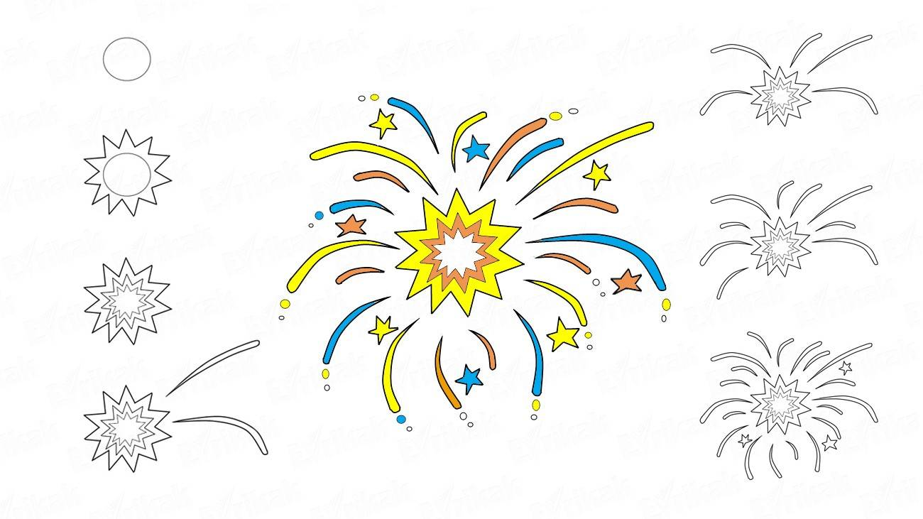 How to draw the colorful fireworks
