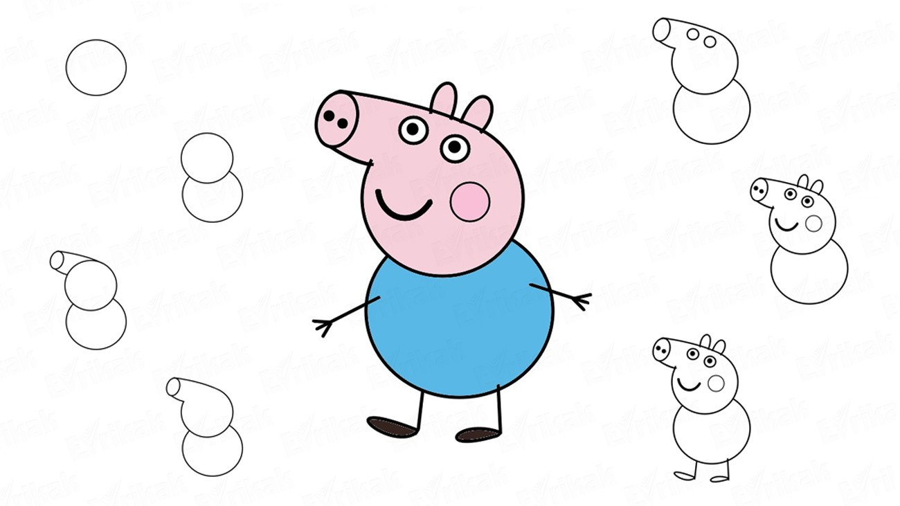How to draw george from the cartoon peppa pig