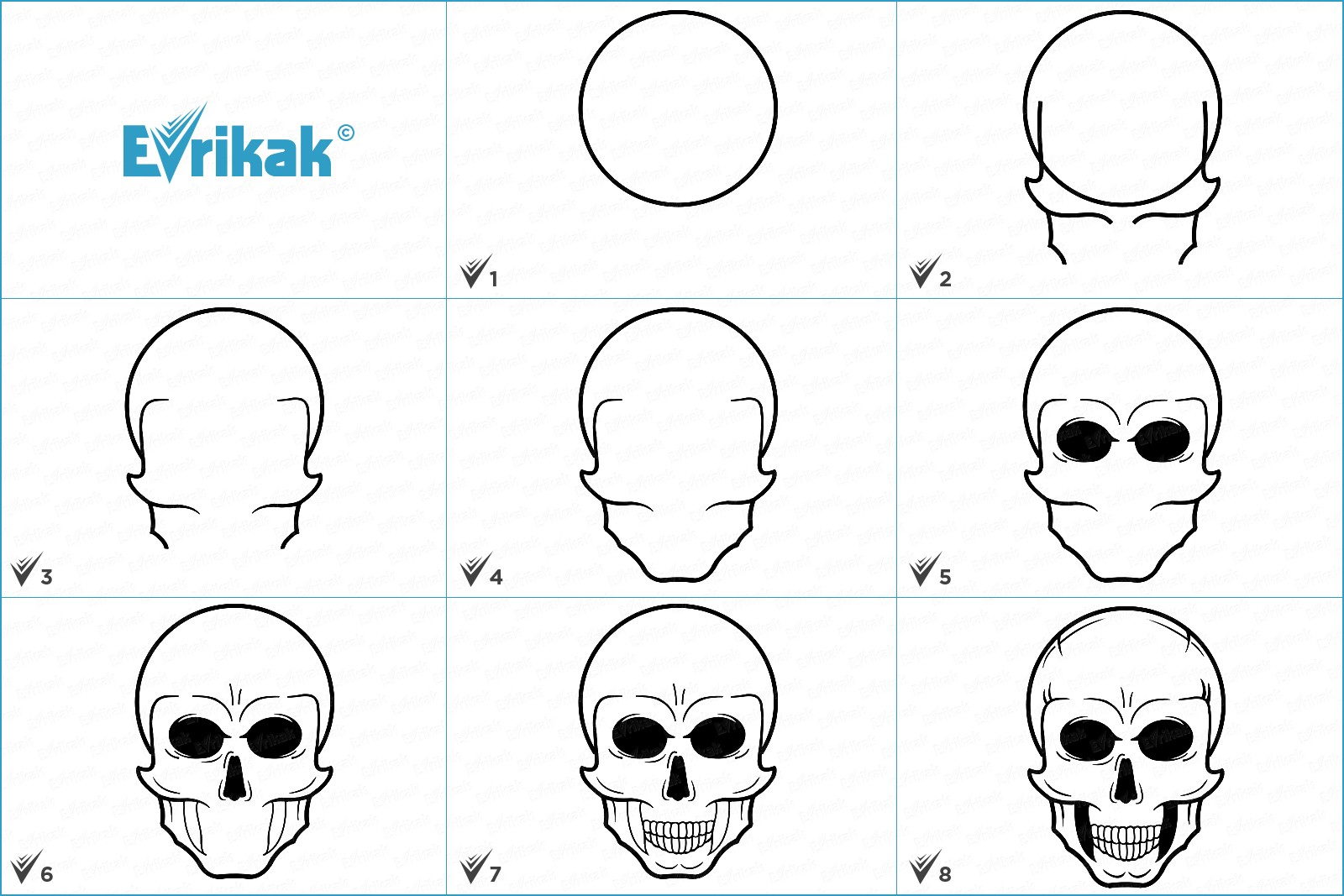 Collage with skull drawing stages
