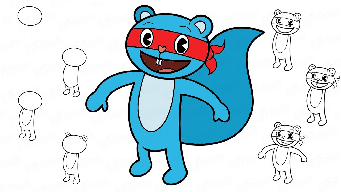 How to draw a super squirrel from the cartoon Happy Tree Friends