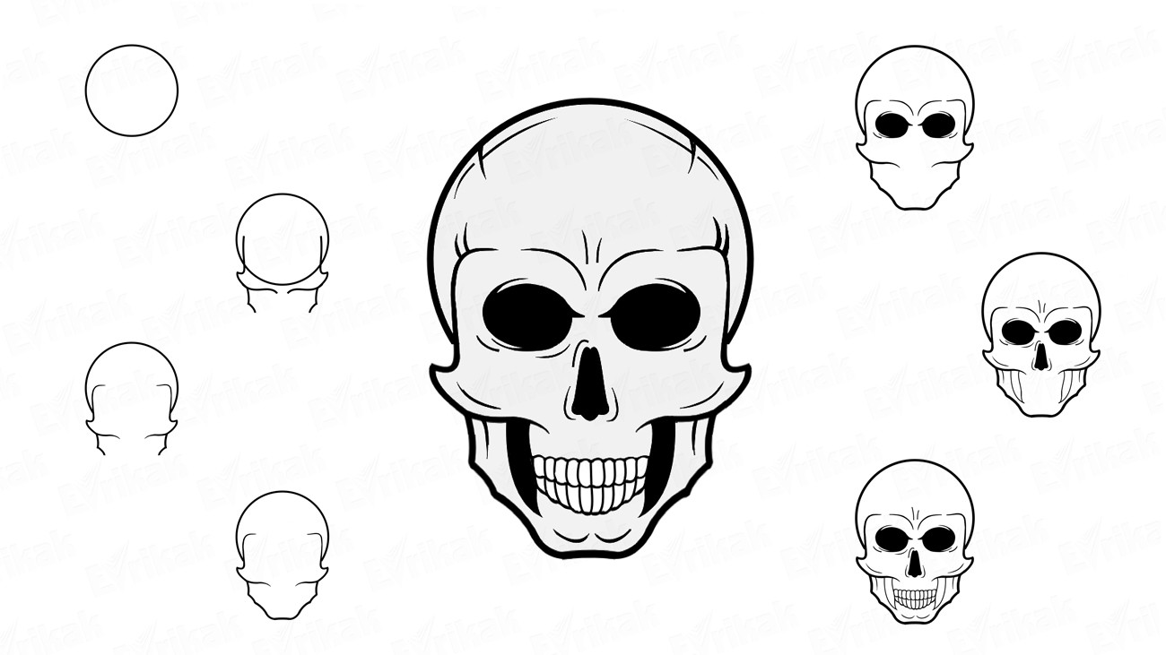 Learn how to draw a skull using a pencil or a pen (+coloring)