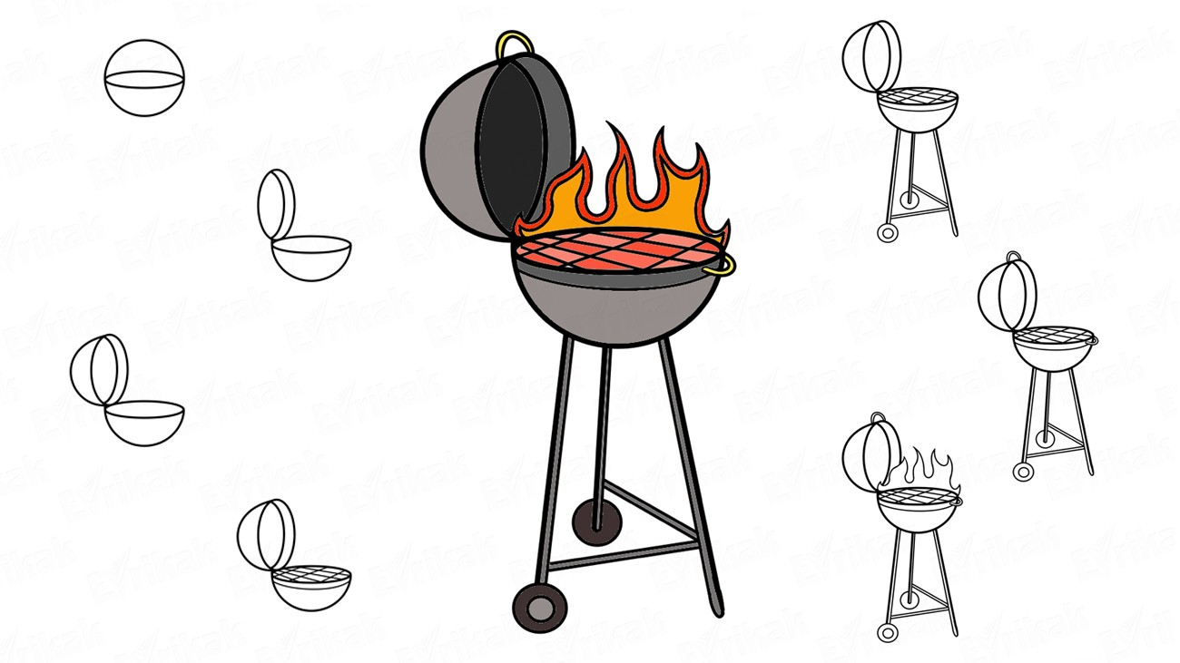 How to draw a barbecue grill