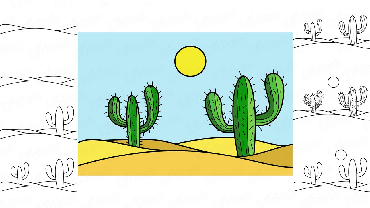 Learn to draw the cacti in the desert in stages (+coloring)