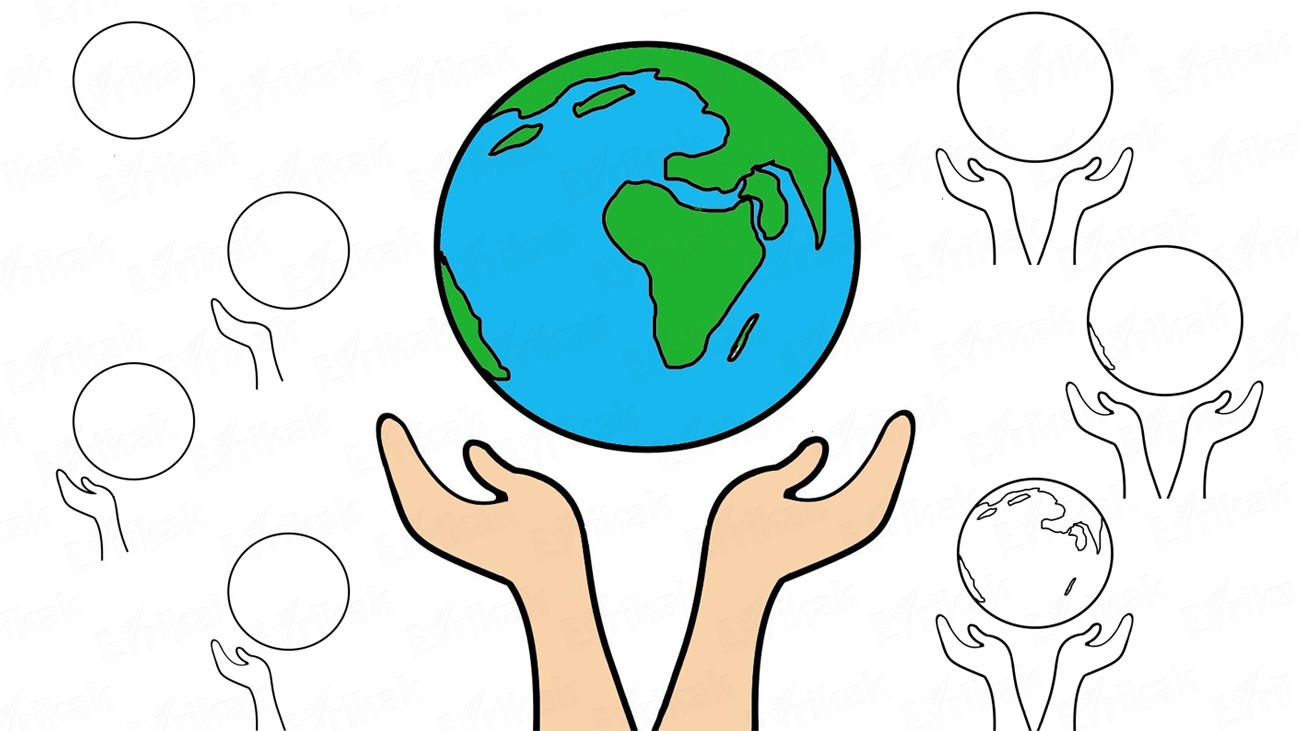 How to draw the world in the palms step by step