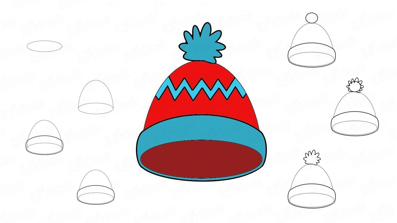 How to draw a winter hat with a pompon