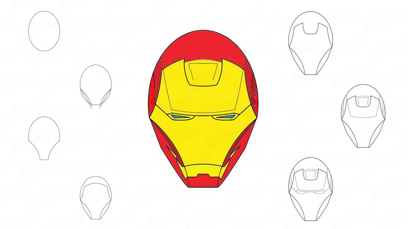 How to draw the Iron man's mask