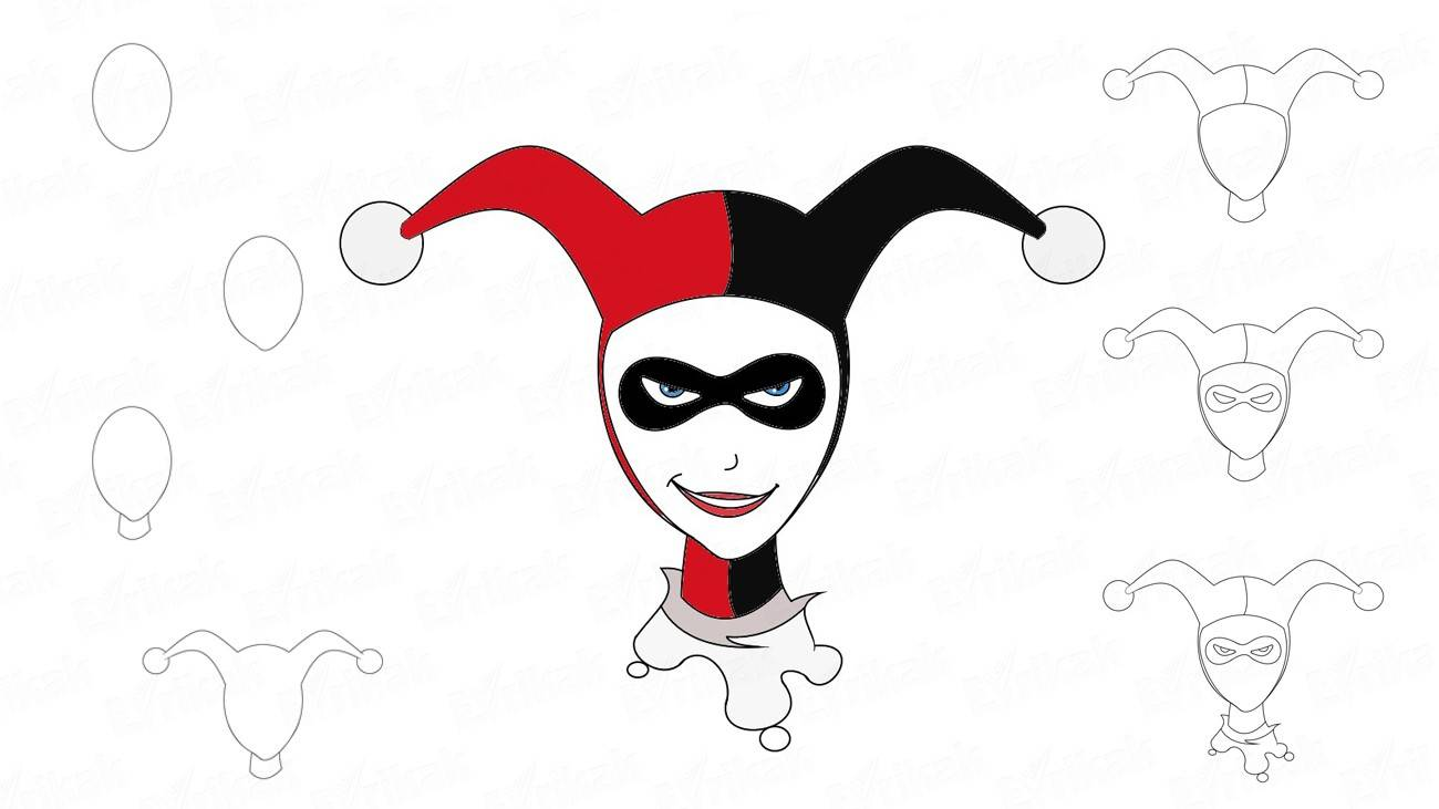 How to draw a super villain Harley Quinn (+coloring)