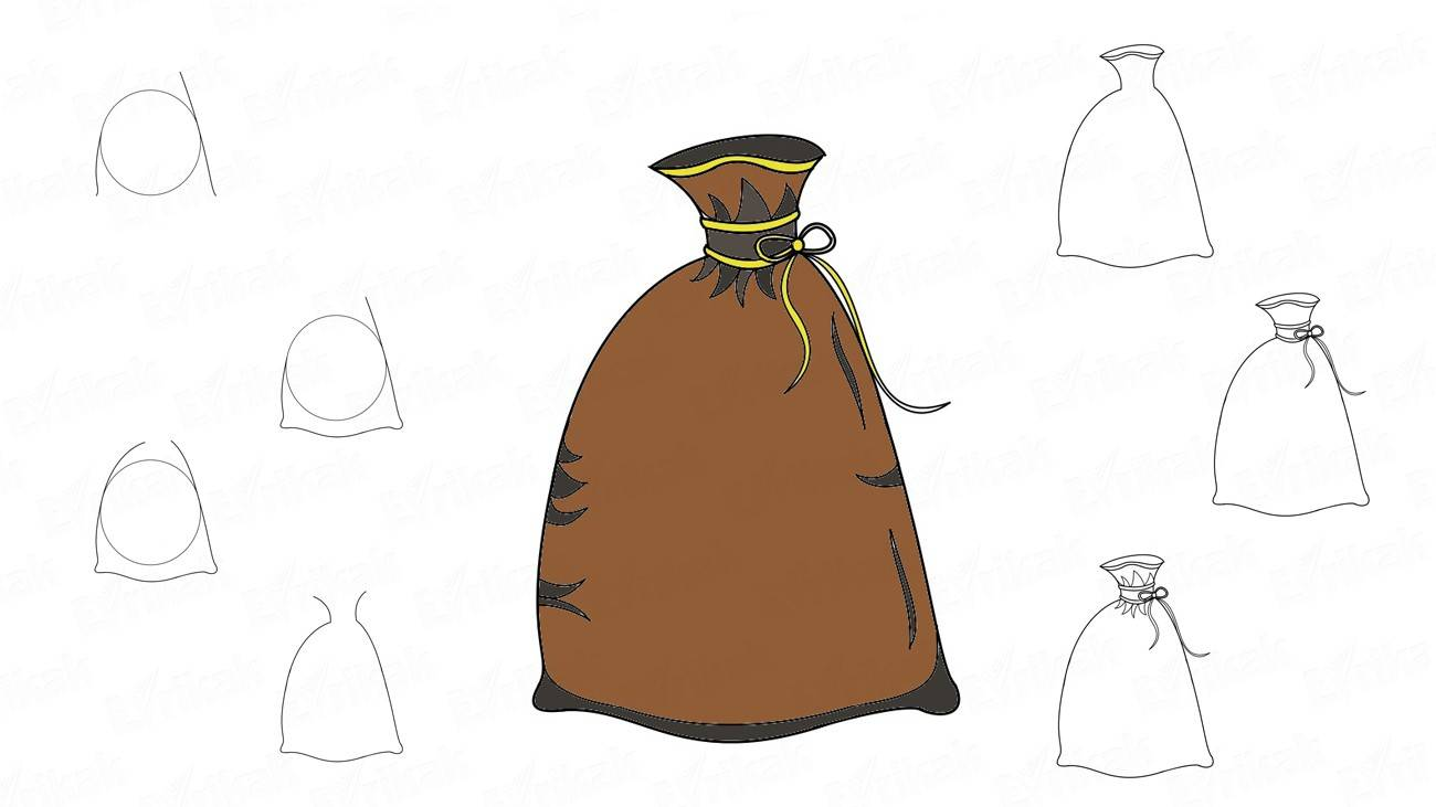 How to draw a bag full of gifts step by step
