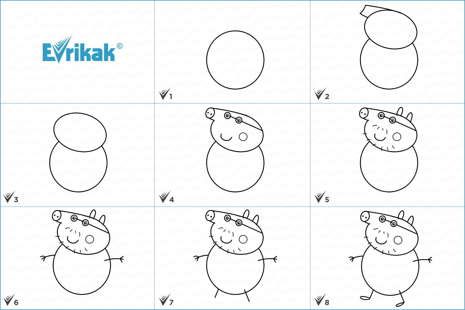 How to draw Daddy Pig