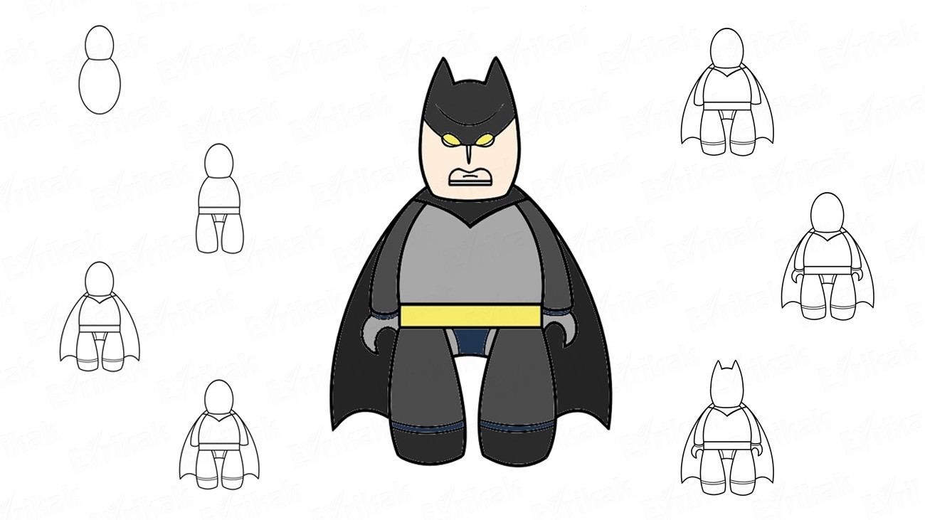How to draw Batman from the cartoon (+coloring)