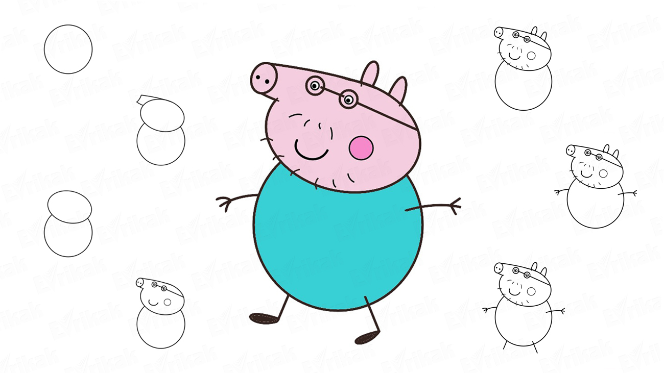 Learn To Draw Daddy Pig Step By Step