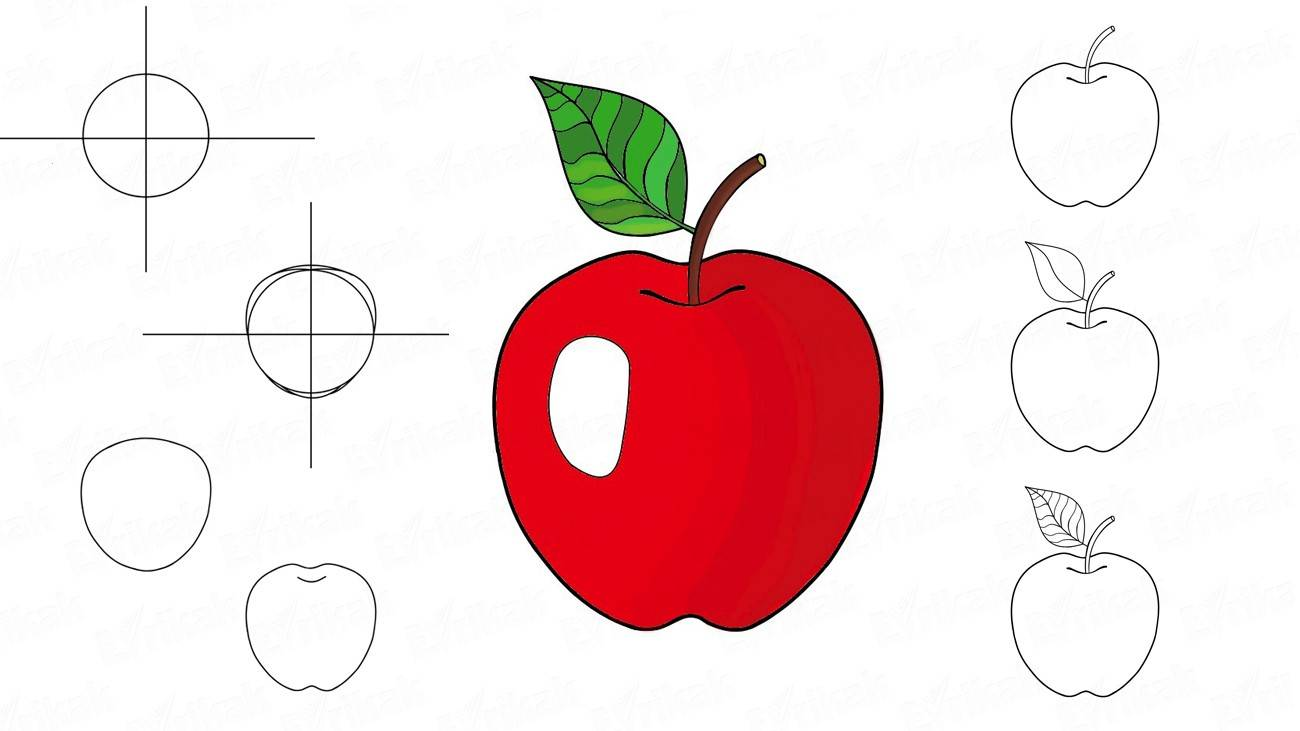 How to draw an apple with a leaf
