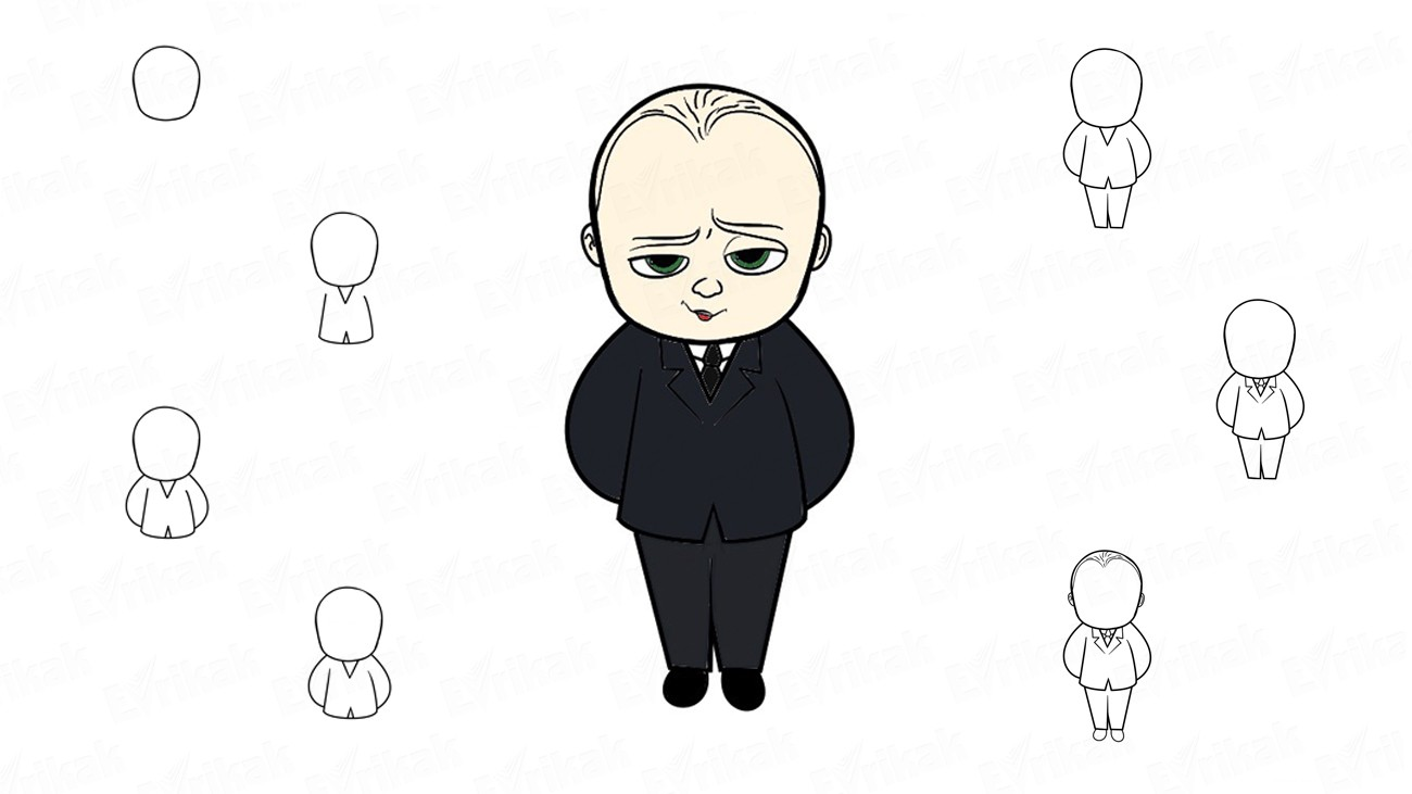 How to draw the boss baby from the cartoon
