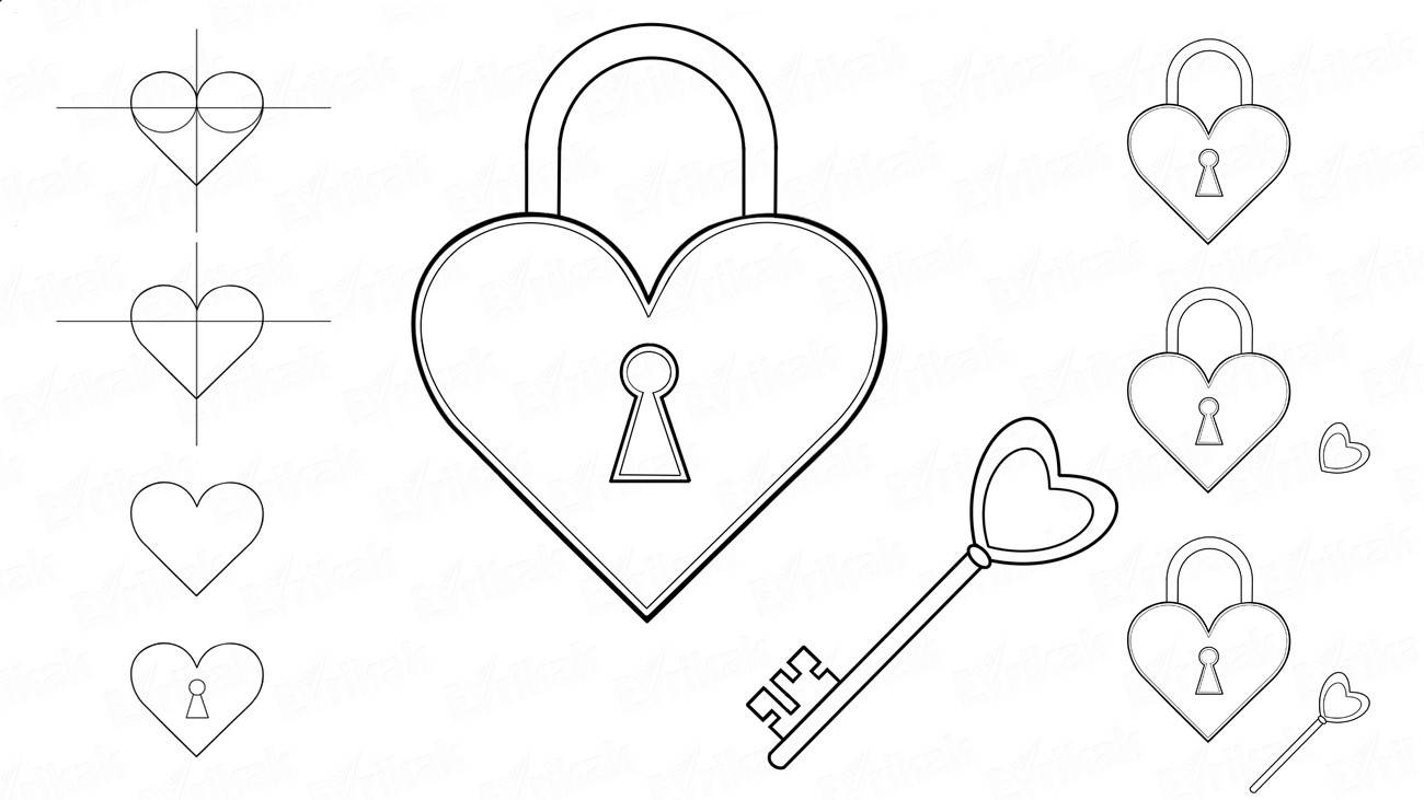 How to draw a beautiful lock which opens a heart
