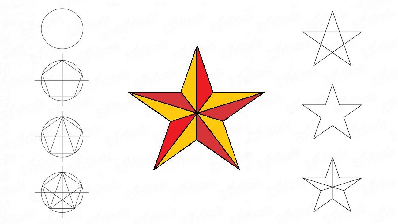 How to draw a five-pointed star