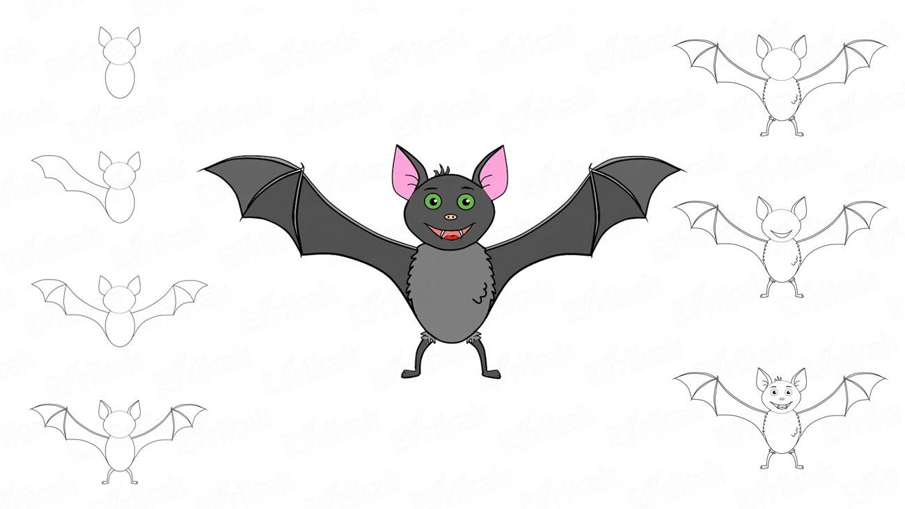 How to draw a bat in stages (+coloring)