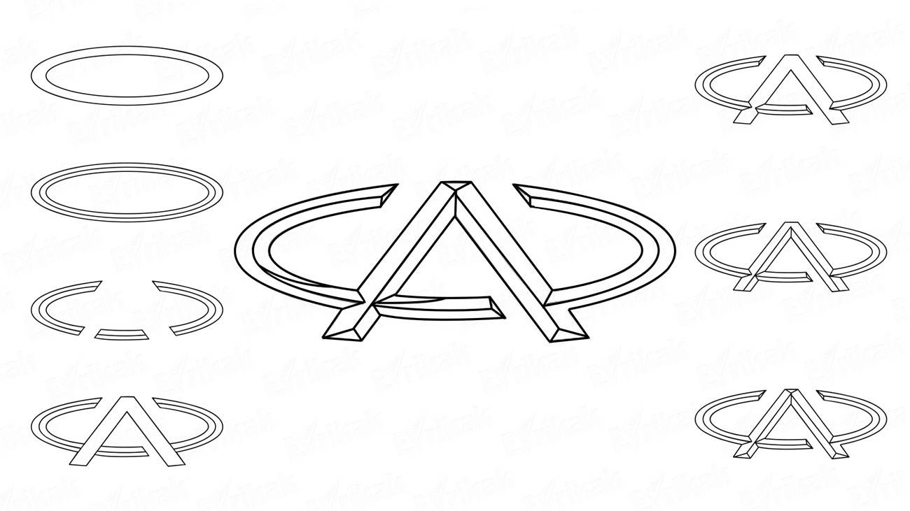 How to draw a Chery car logo in stages