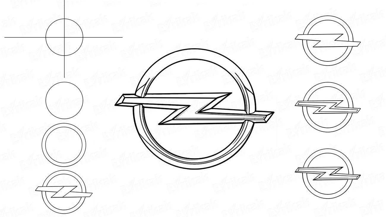 How to draw Opel car logo step by step