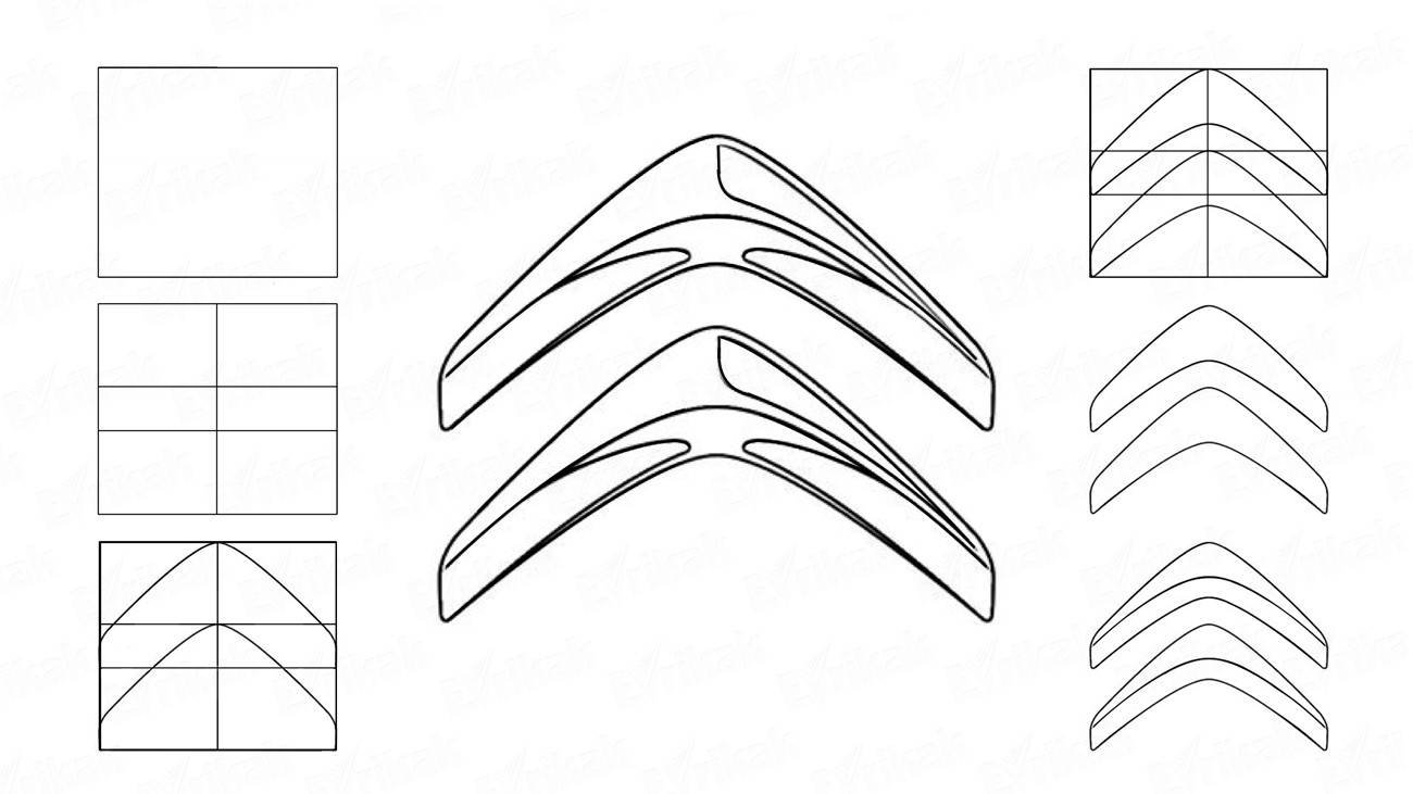 How to draw the logo of Citroen step by step