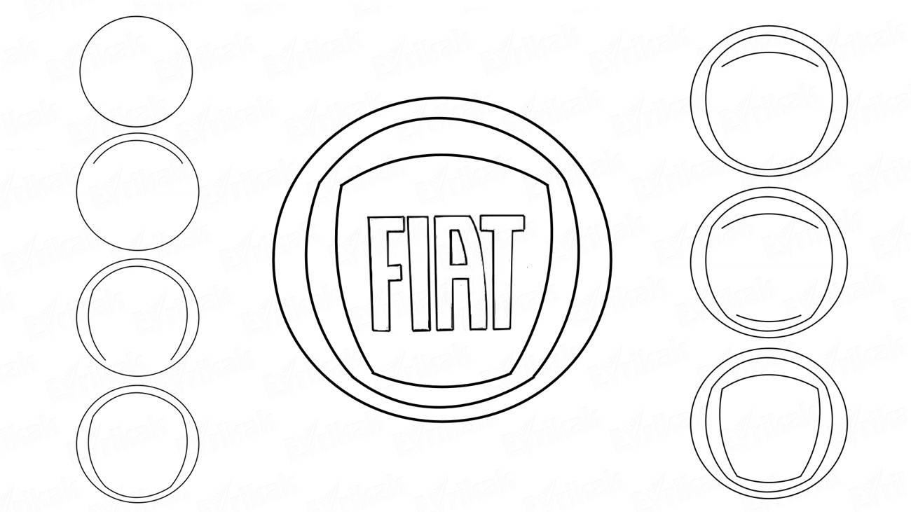 How to draw a logo of Fiat car in stages