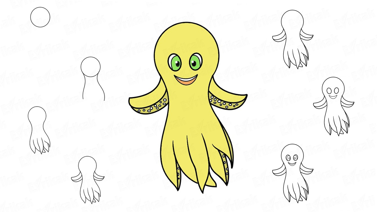 "How to draw an octopus Deep from the cartoon""Deep"" in stages"