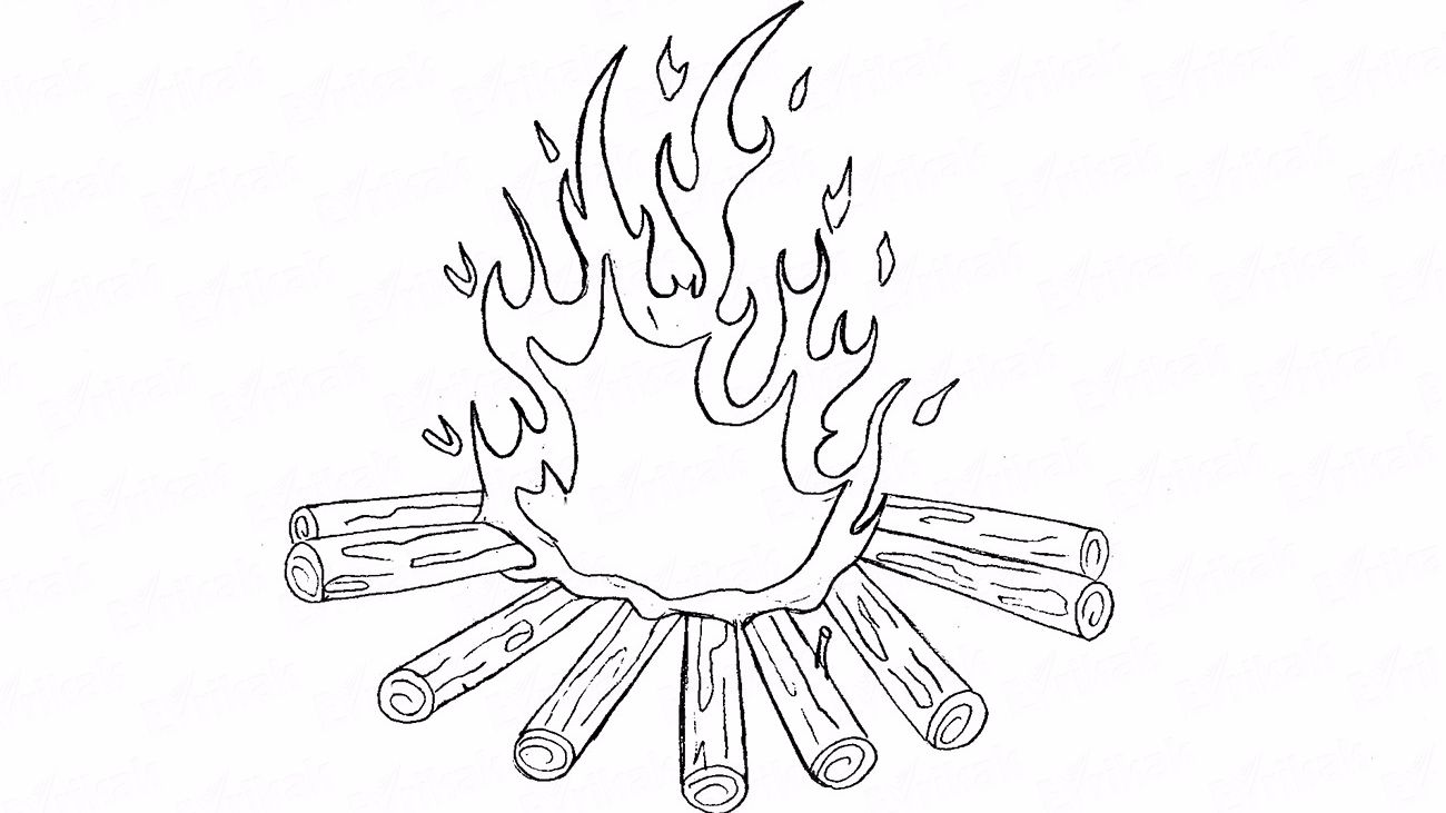 How to draw a burning fire using a pencil
