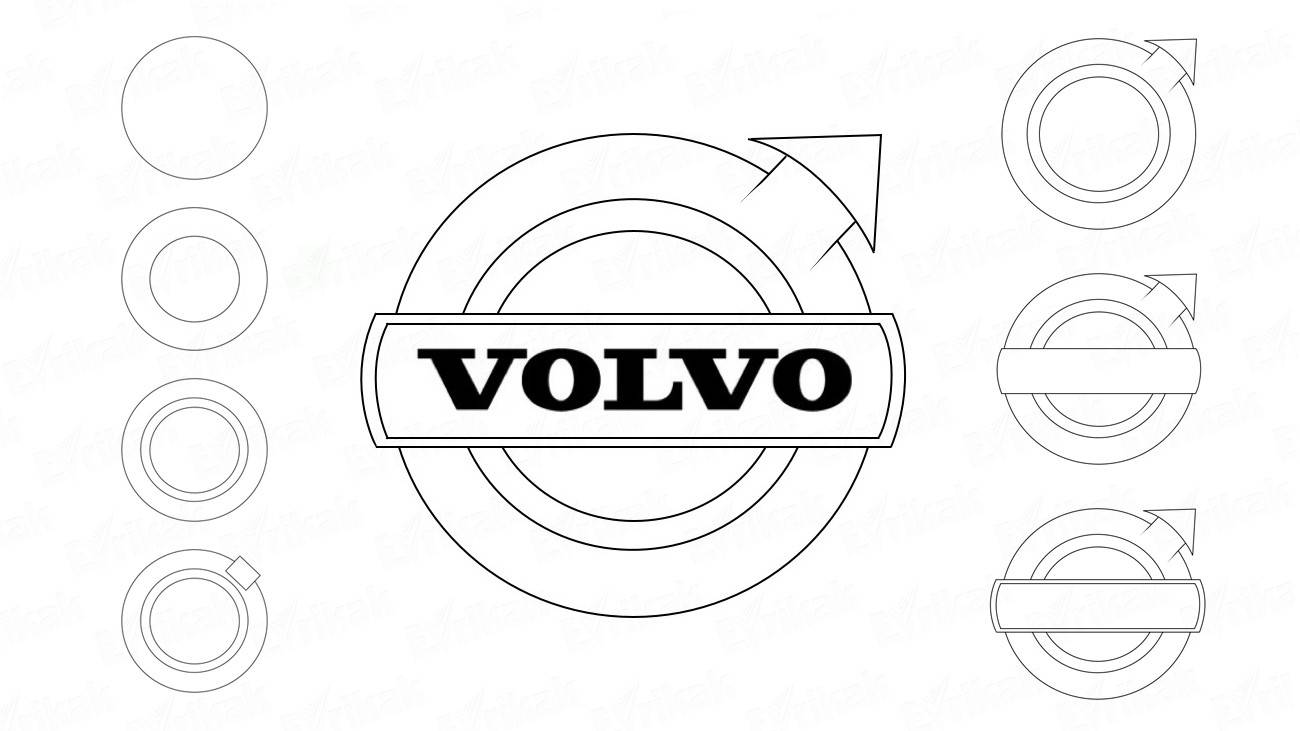 How to draw a Volvo car logo