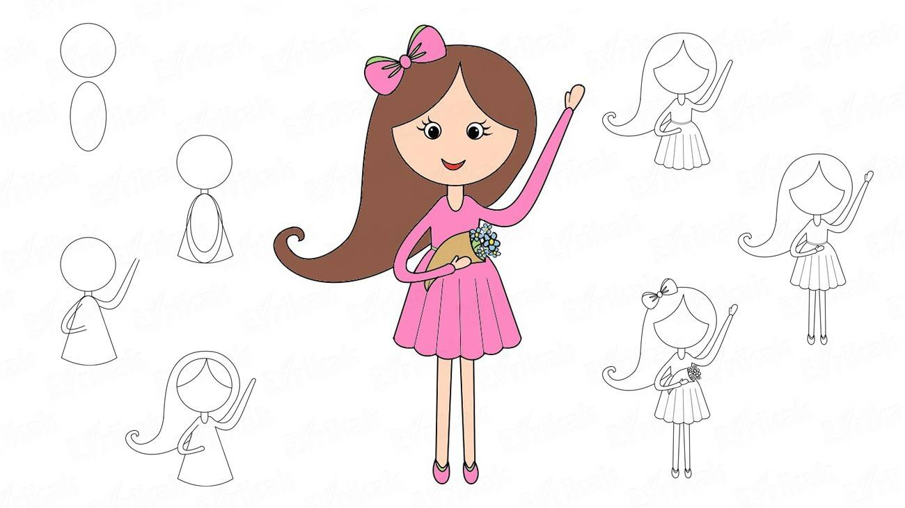 How to draw a girl in a pink dress with flowers
