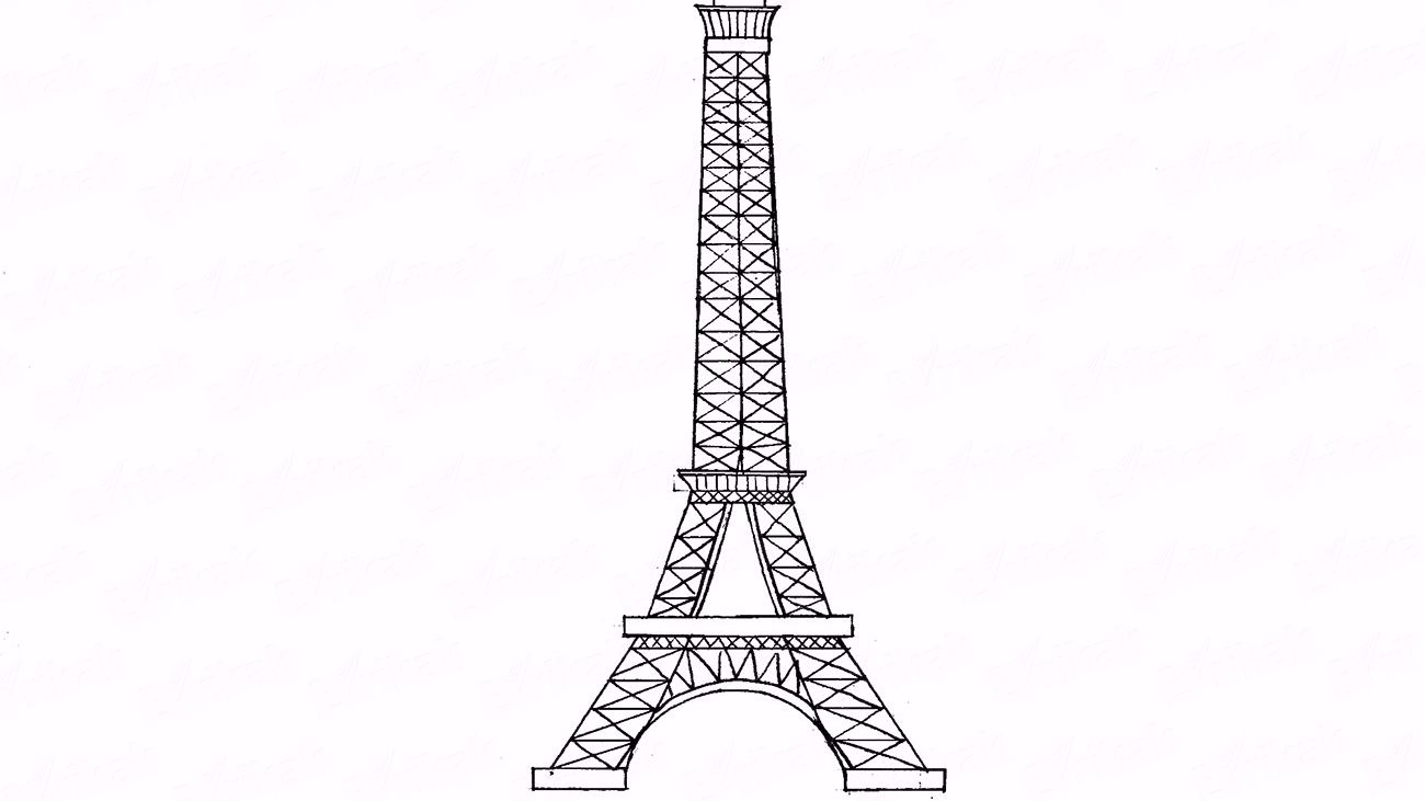 How to draw the Eiffel tower step by step using a pencil
