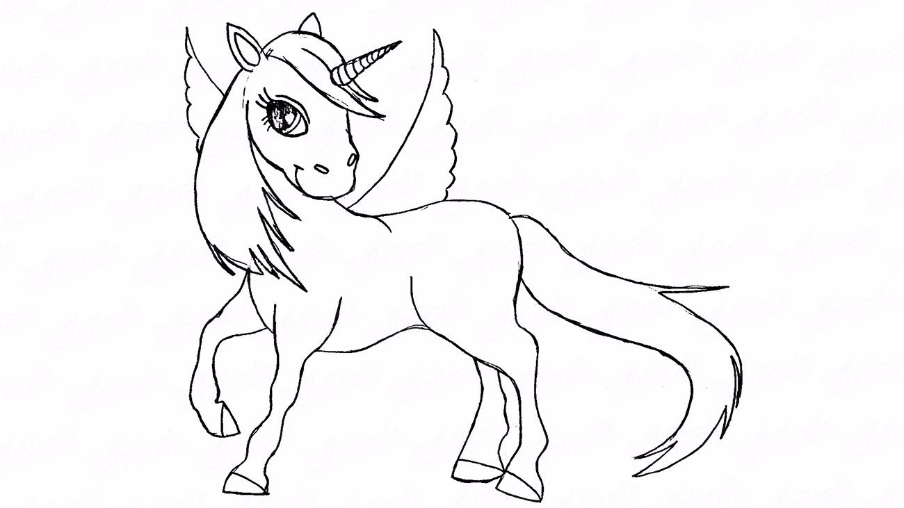 How to draw a unicorn using a pencil in stages