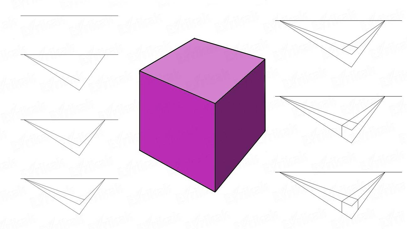 How to draw a voluminous cube step by step