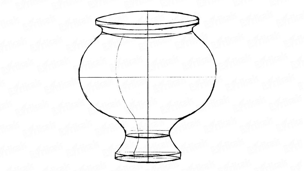 How to draw a flower vase using a pencil