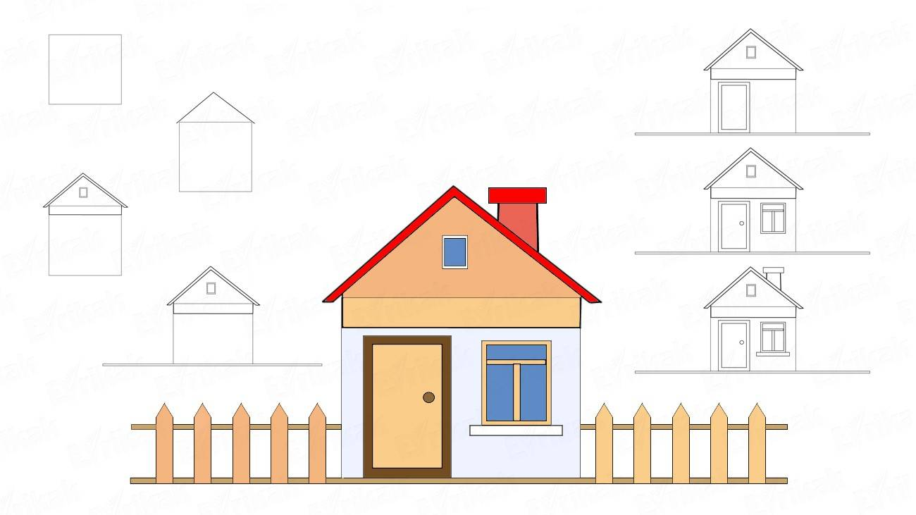 How to draw a house with a fence in stages