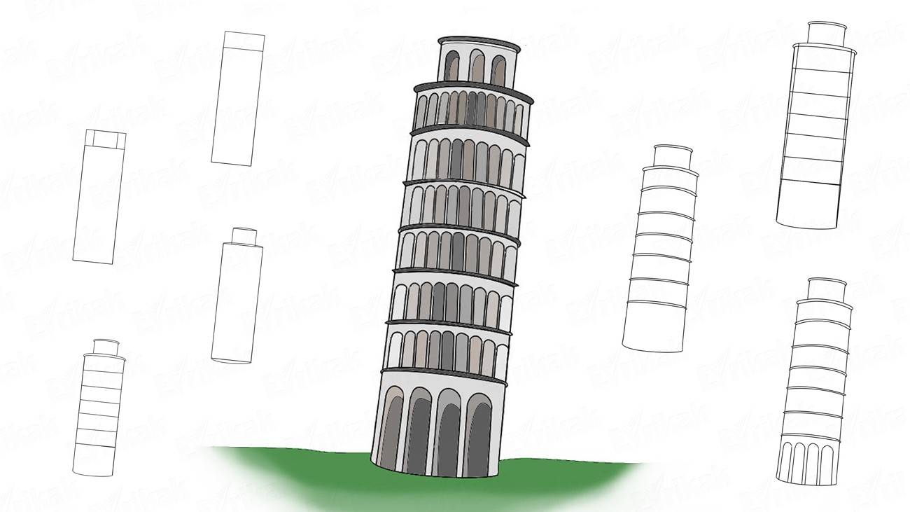 How to draw a leaning tower of Pisa step by step