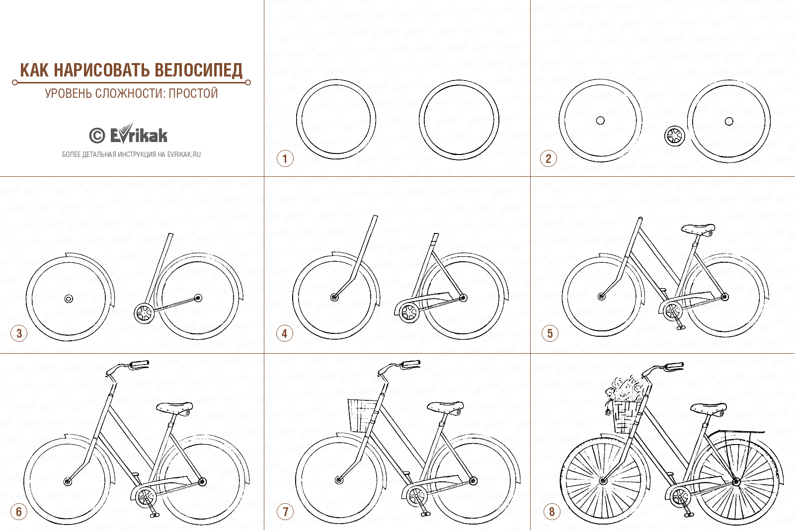 The collage of the bike's drawing stages