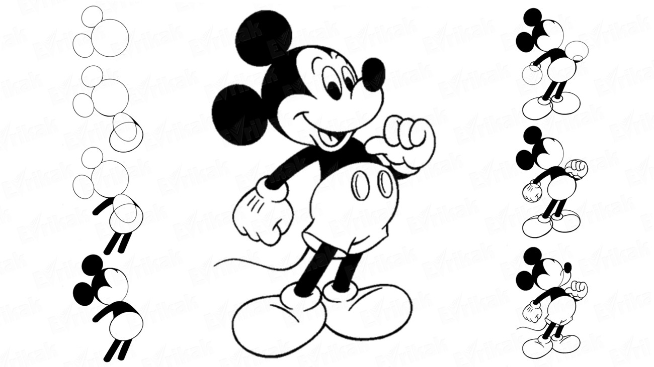 How to draw Mickey Mouse for children