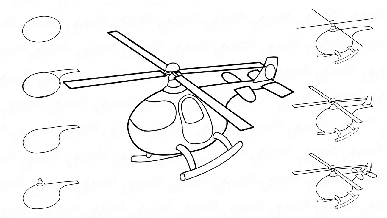 How to draw a children's helicopter in stages