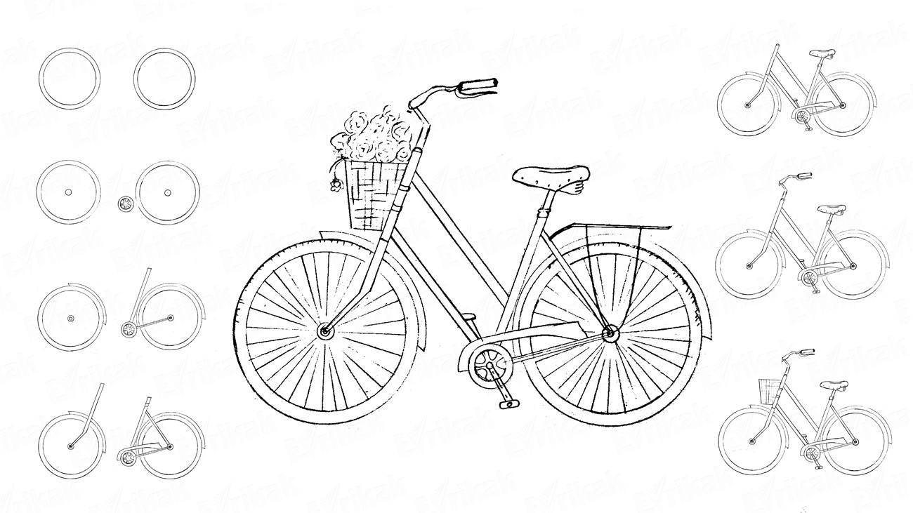 How to draw a bicycle for a child in stages