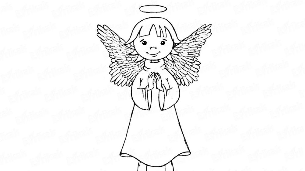 How to draw an angel with wings using a pencil
