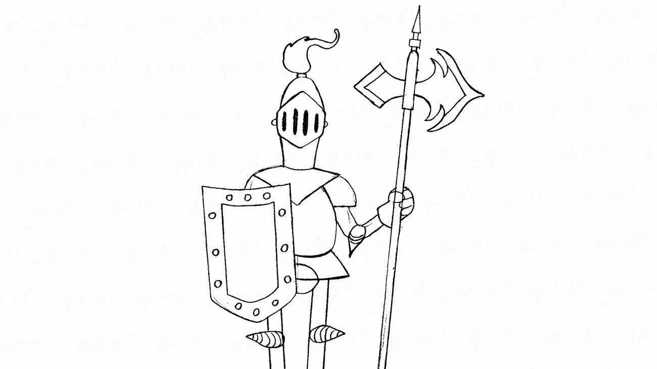How to draw a medieval knight with a spear