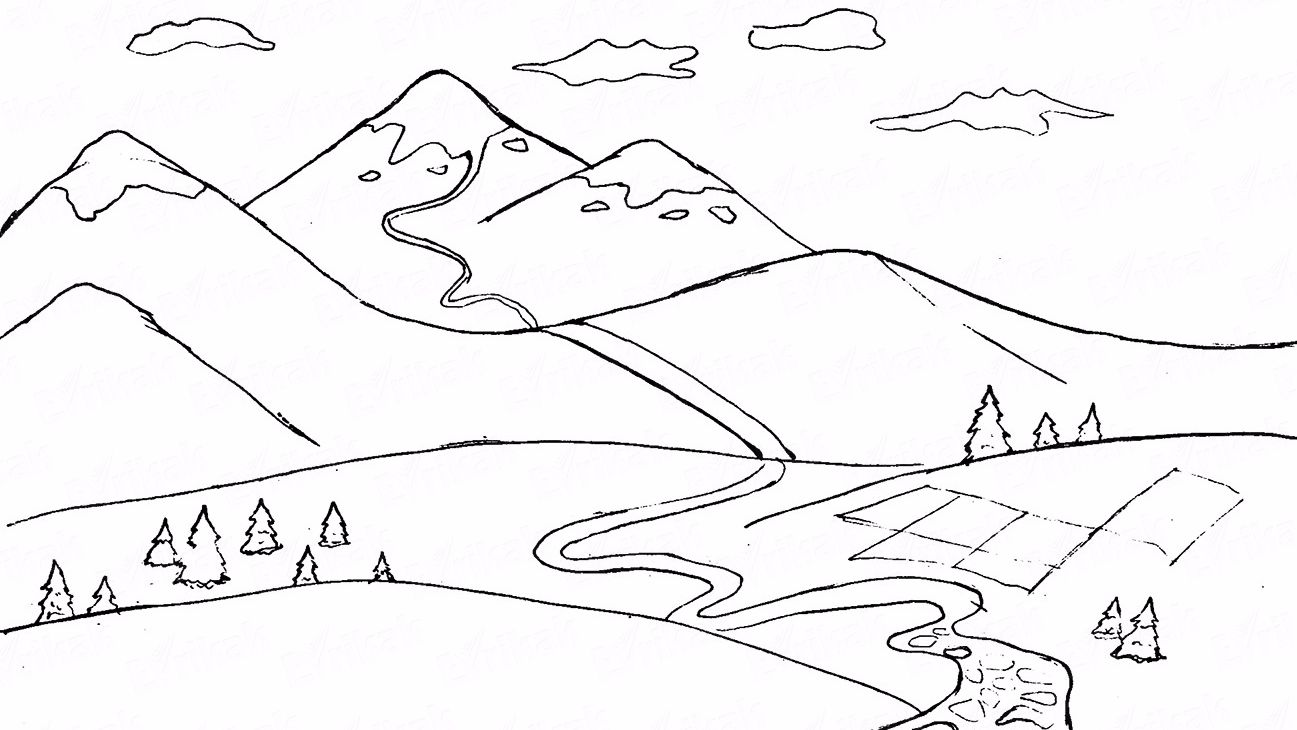 Learn to draw mountains using a pencil step by step